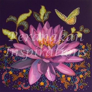 Pink Lotus on Purple